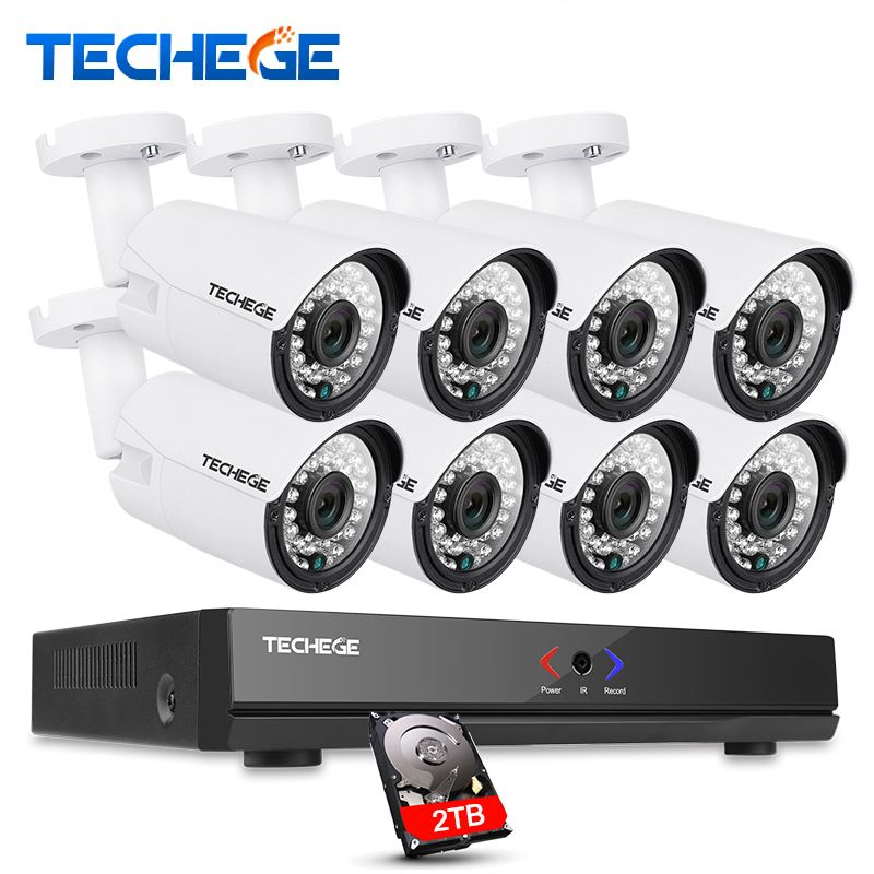 Techege 8CH 1080P HDMI POE NVR CCTV System 960P Outdoor Waterproof IP Camera Home Security Surveillance Kit P2P Motion Detection