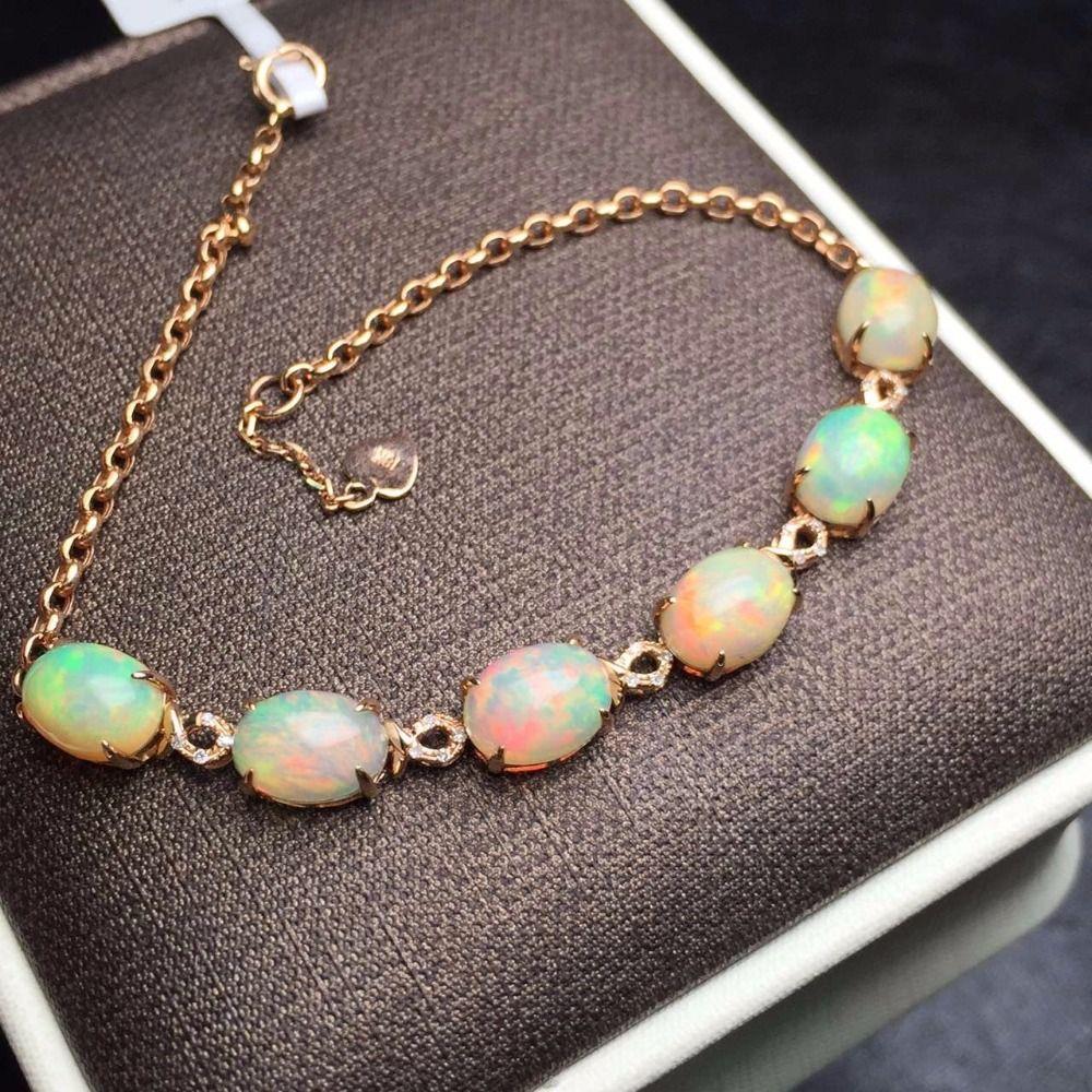 Feine Schmuck Echt 18 K Rose Gold AU750 G18K 100% Natürliche AU Opal Edelsteine Liebe Schmuck Armbänder für frauen Feine armband