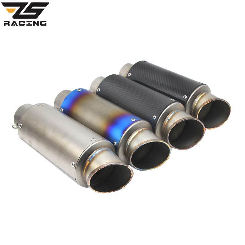ZS-Racing 60mm Two Size Inlet Carbon Fiber Motorcycle Exhaust Tip/Muffler Stainless Steel Exhaust Pipe For Yamaha Honda