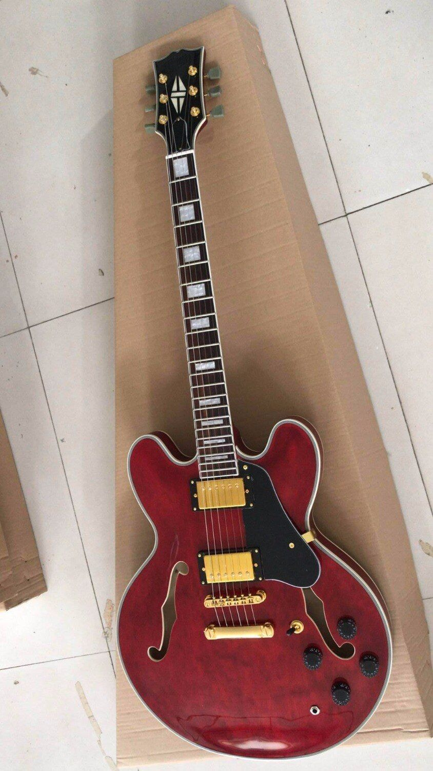 Wholesale Gibsones 335 Jazz electric guitar gold hardware ES335 China Guitar ES 335 In Wine Red180610