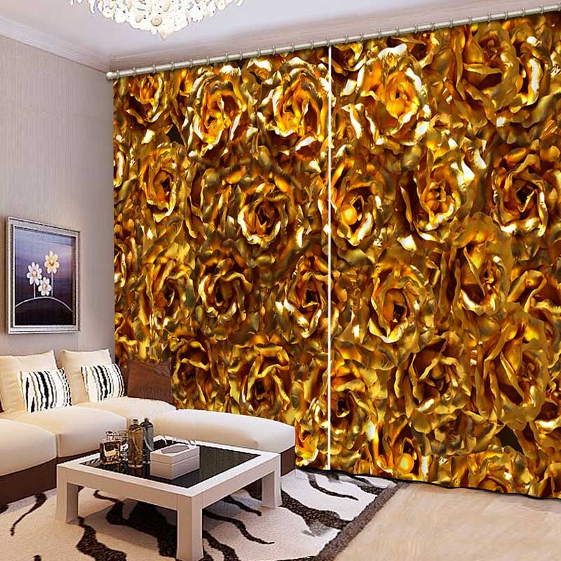 3D Printing Curtains High Quality Lifelike Beautiful Golden Flowers Curtains Bedroom Living Room Curtains CL-065