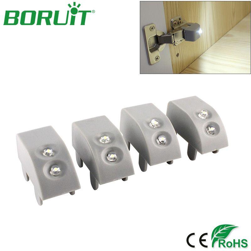 BORUiT 4pcs/lot LED Cabinet Lights Motion Sensor Wireless Wardrobe Cupboard Under Cabinet Light For Kitchen Bedroom Night Lights