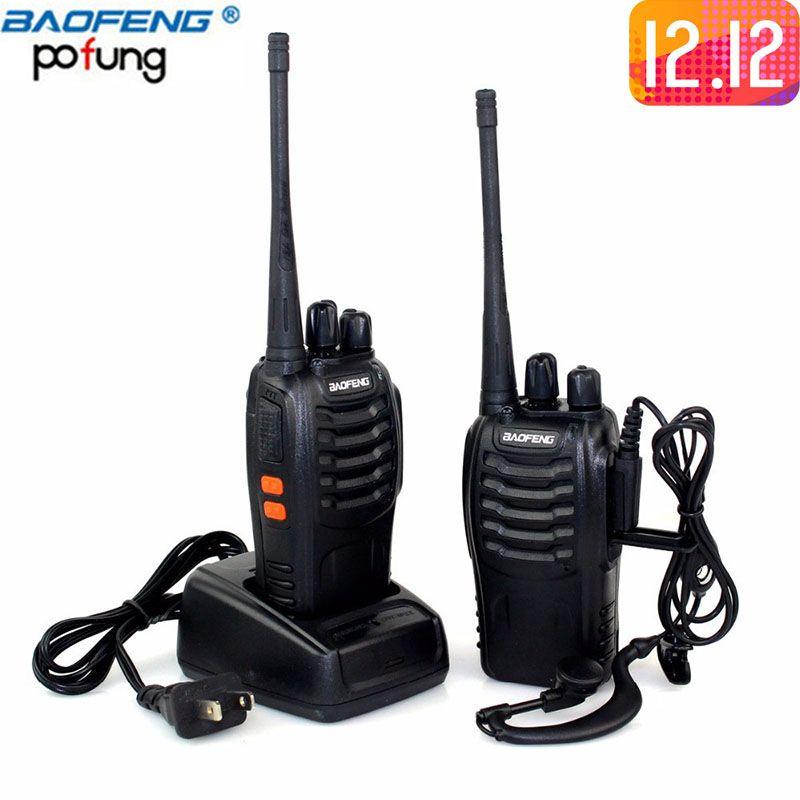 2Pcs Baofeng BF-888S Mini Walkie Talkie Portable Radio CB radio BF888s 16CH UHF 888S Comunicador Transmitter Transceiver+Headset