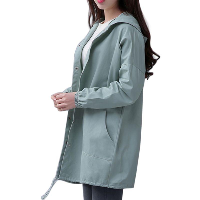 EXOTAO Printemps 2017 Nouveau Femmes Veste Cordon Ourlet Manches Longues Manteau À Capuchon Printemps Léger Coupe-Vent Jaqueta Feminina