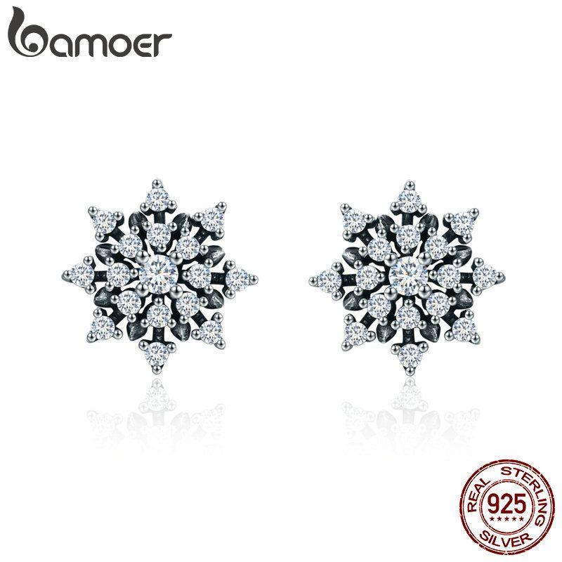 BAMOER Hohe Qualität 100% 925 Sterling Silber Romantische Schneeflocke Leucht CZ Stud Ohrringe für Frauen Feine Silber Schmuck SCE346