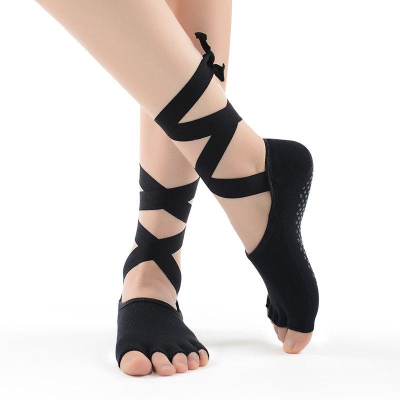 2017 NUEVAS Mujeres de La Manera Calcetines de Las Señoras de Baile de Cinco Dedos Calcetines antideslizantes Calcetines de Algodón Con Cinta Descalzo Encaje Deportivas calcetines