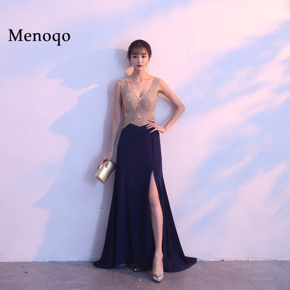 Menoqo Evening Dresses Luxury Sexy V-neck Side Slit See through back Long party dress Graduation Dress Beaded Formal Gowns
