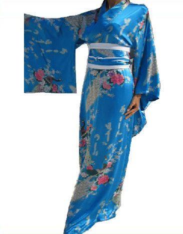 Livraison Gratuite Nouveau Bleu Japonais En Satin de Soie des Femmes Kimono Robe de Soirée Yukata Fleurs taille H005