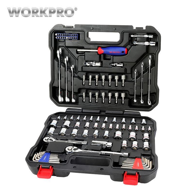 WORKPRO 101 PC ensemble d'outils de mécanicien outils de maison pour outils de réparation de voiture douilles ensemble clé à cliquet