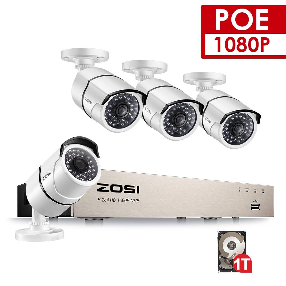 ZOSI 4CH NVR 1080P IP Network POE Video Record IR Outdoor CCTV Security Camera System Home video Surveillance kit 1TB Hard Drive