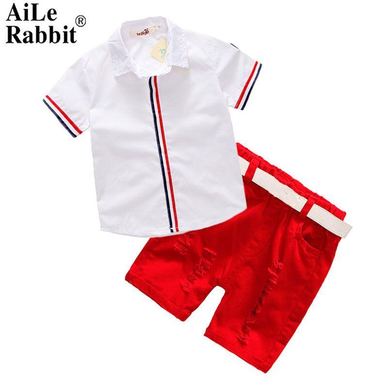 AiLe Rabbit Summer Children's Clothing Set Boys T Shirts Shorts Belt 3pcs Suits Bow Pants Sports Kids Clothes Fashion k1