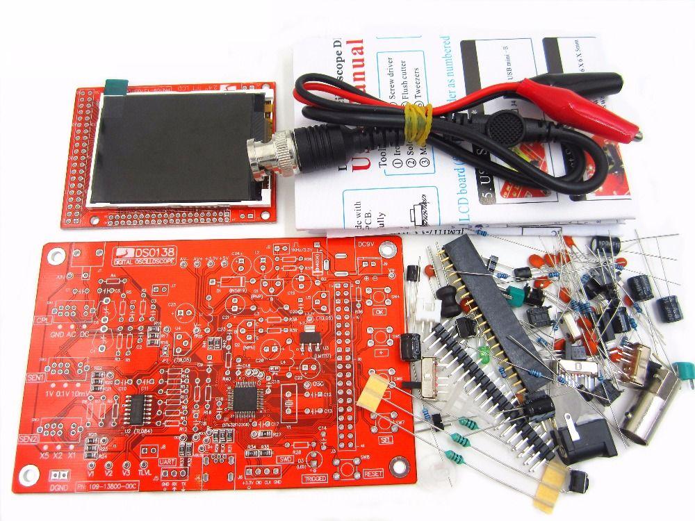 1Sets High Quality DS0138 DSO138 Digital Oscilloscope DIY Kit+ Probe Unsoldered Flux Workshop STM32 200khz NO CASE