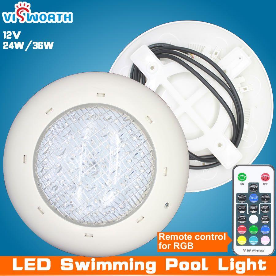 Lumière de piscine en gros 24W 36W AC/DC 12V RGB + télécommande éclairage extérieur IP68Waterproof lampe sous-marine lumière d'étang