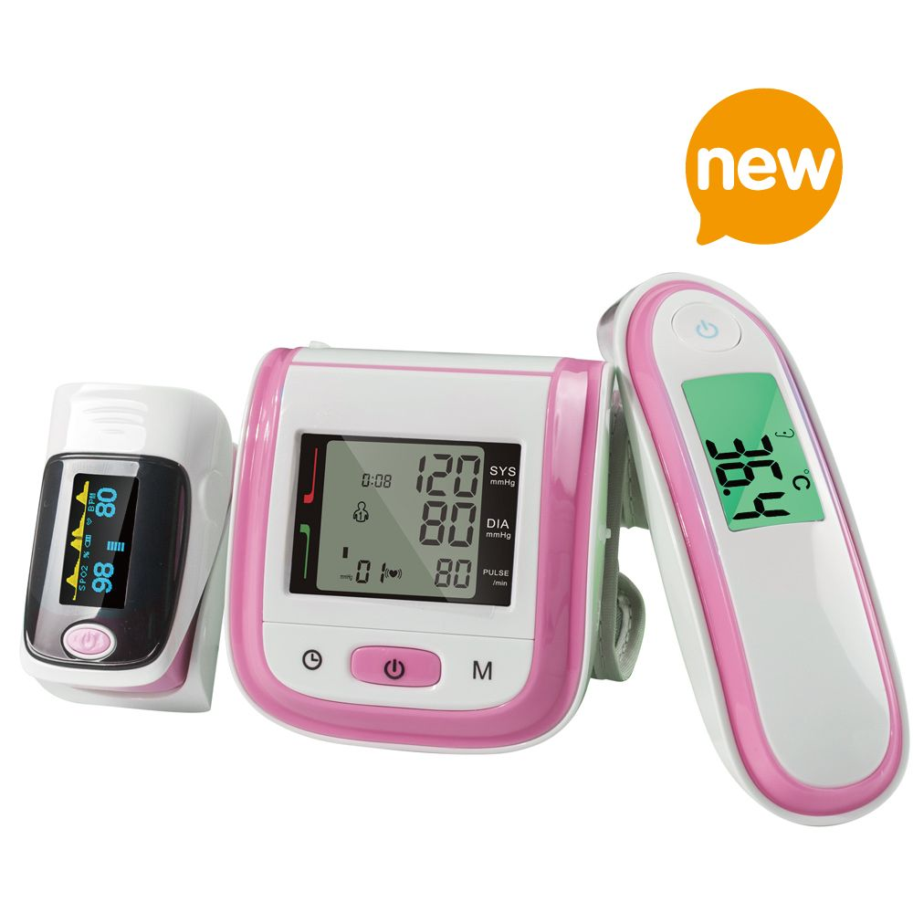 Yongrow Fingertip Pulse Oximeter & Wrist <font><b>Blood</b></font> Pressure Monitor & Infrared Body Thermometer With Health Care (Multi-Colors)