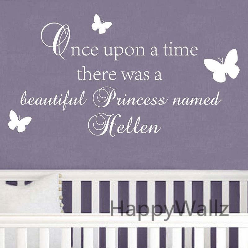 Nom personnalisé bébé pépinière mur autocollant bricolage il était une fois il y A un nom de princesse filles mur décalcomanie nom décors muraux C68