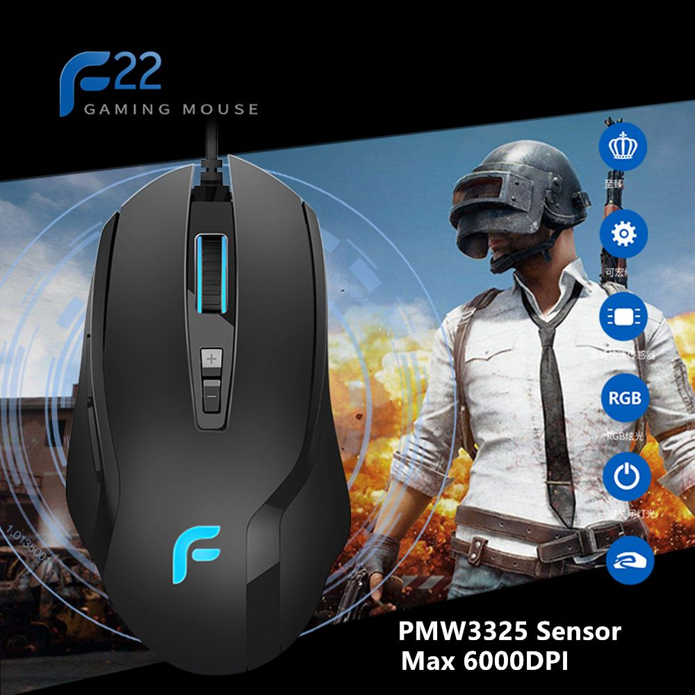 New DEARMO F22 Professional Wired Gaming Mouse 500 to 6000DPI Adjustable with 7 Programmable Buttons For PC Computer Laptop