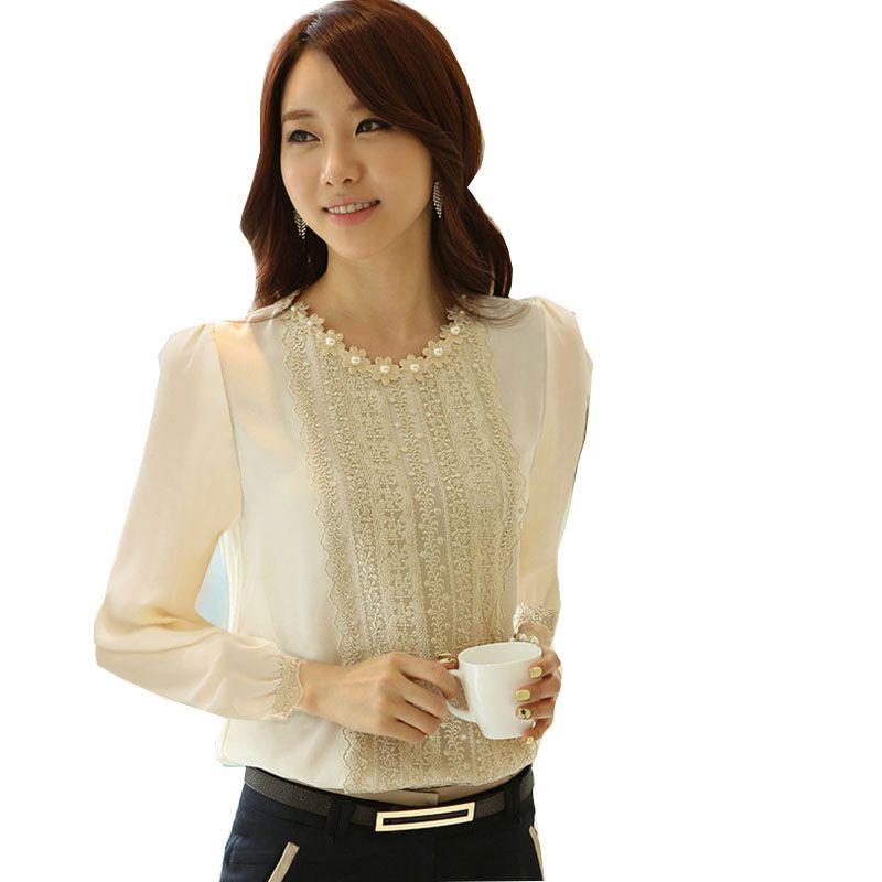 Blusa social Dentelle Blouse Femmes Tops Et Chemisiers 2017 Nouveau mode Chemise À Manches Longues blanc Chemises blusas com renda femmes blouses