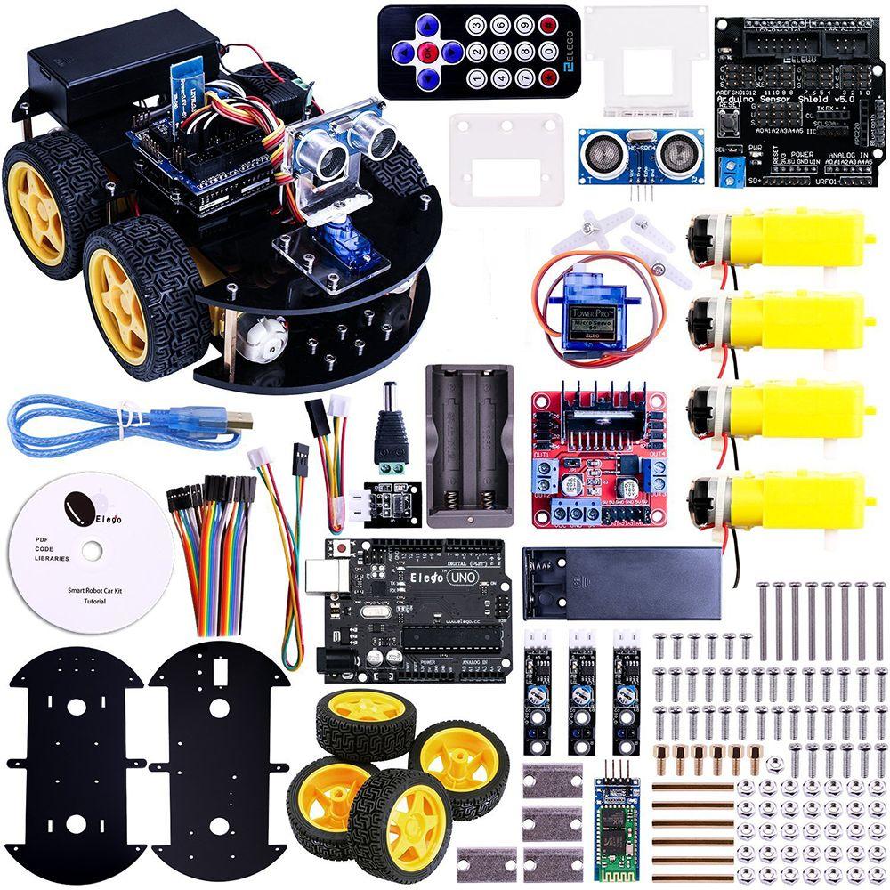 Multi-fonction 4WD Robot Voiture Kits À Ultrasons Module ONU R3 MEGA328P Robot Kit de Montage de Voitures