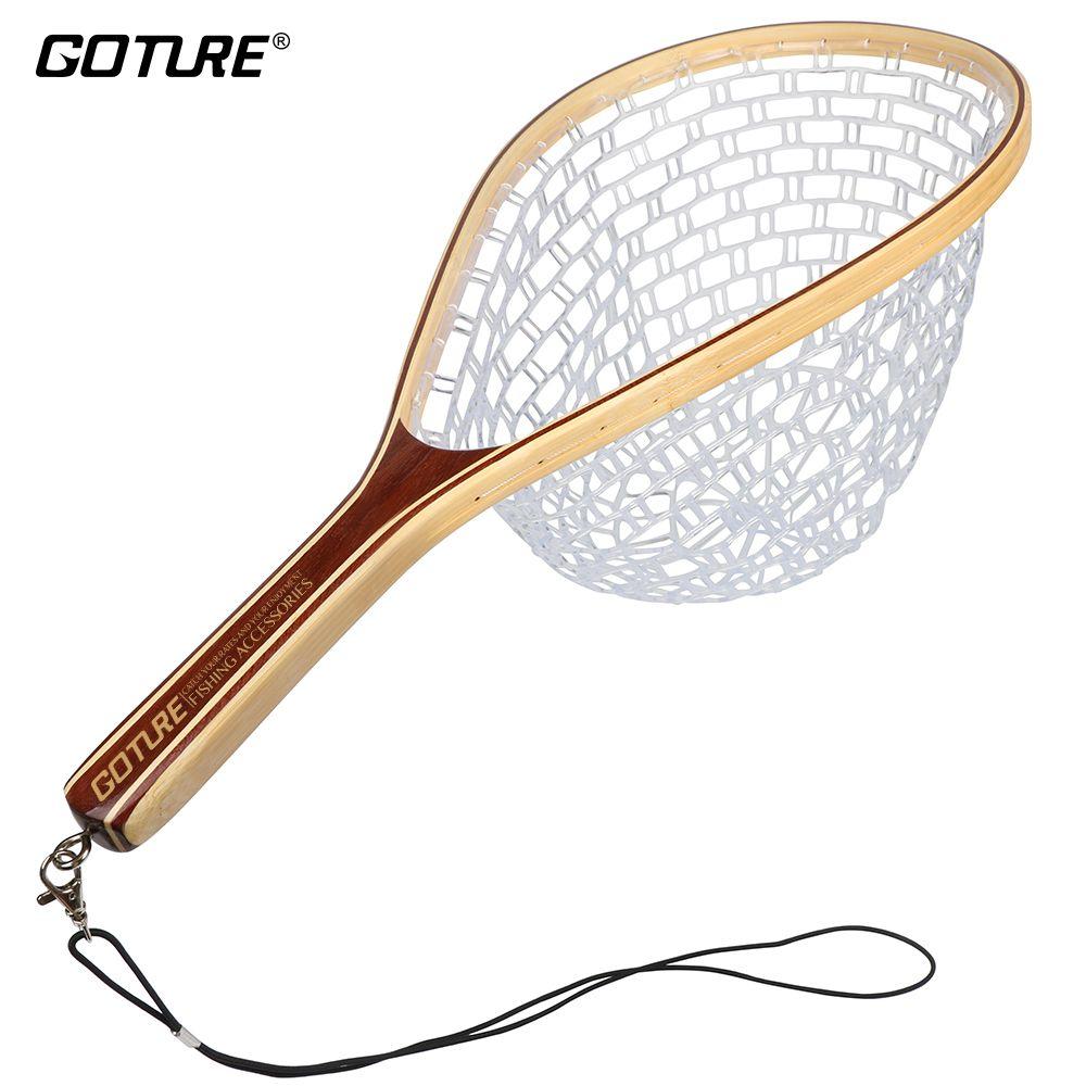 Goture Monofilament Gummi Fischernetz Kescher Bambus und Holz Rahmen Hand Net für Fly Fishing