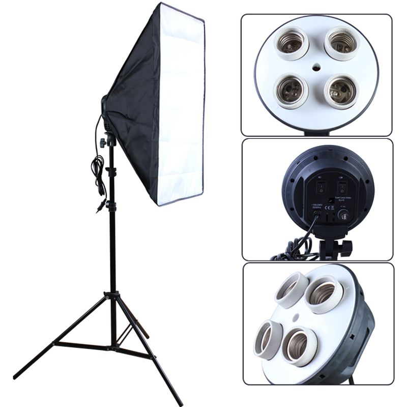 Photo Studio Diffuser 100-240v Softbox 4-Lamp-Holder Socket With 50*70cm Continuous Lighting include Light Stand