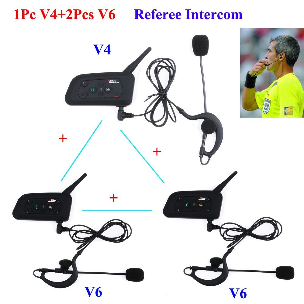 3Pcs/Set 1200M Intercom Full Duplex Two-way Football Coach Judger Earhook Earphone Referee Communication System Intercom