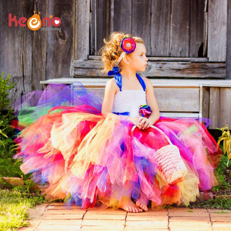 Keenomommy Candy Rainbow Flower Girls Tutu Dress for Birthday Photo Wedding Kids Halloween Christmas Costume TS052