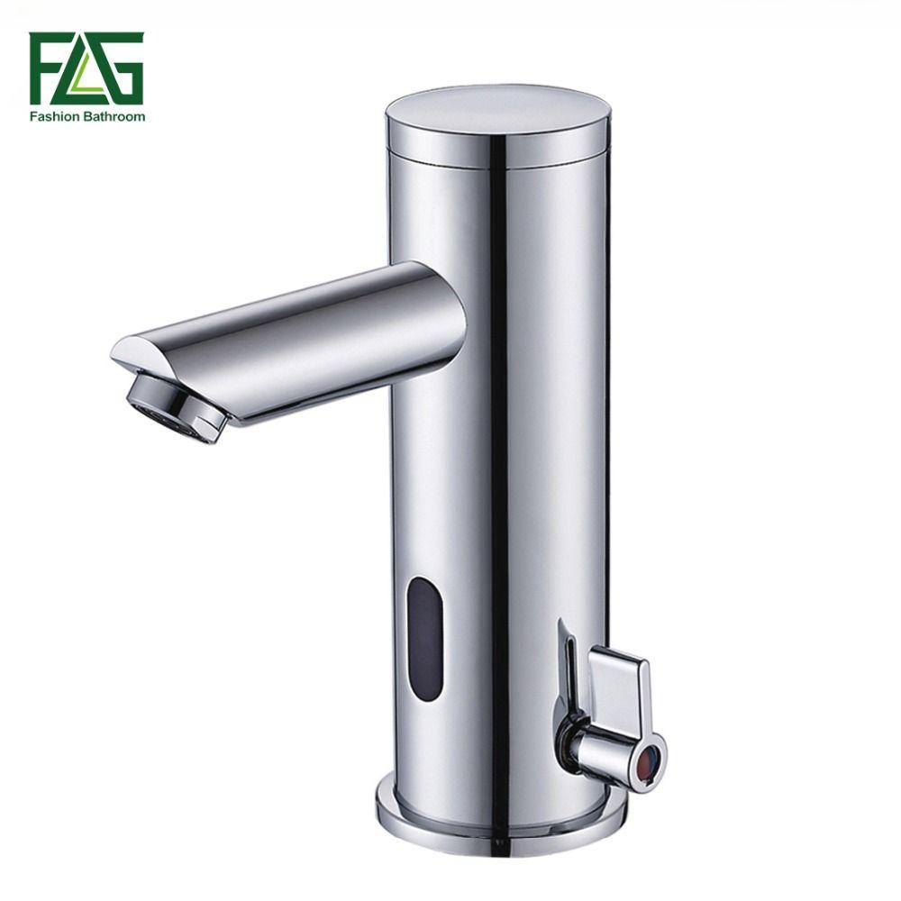 FLG Sensor Faucet Automatic Inflrared Sensor Hand Touch Tap Hot Cold Mixer <font><b>Chrome</b></font> Polished Sink Mixer Bathroom Tap Basin faucets