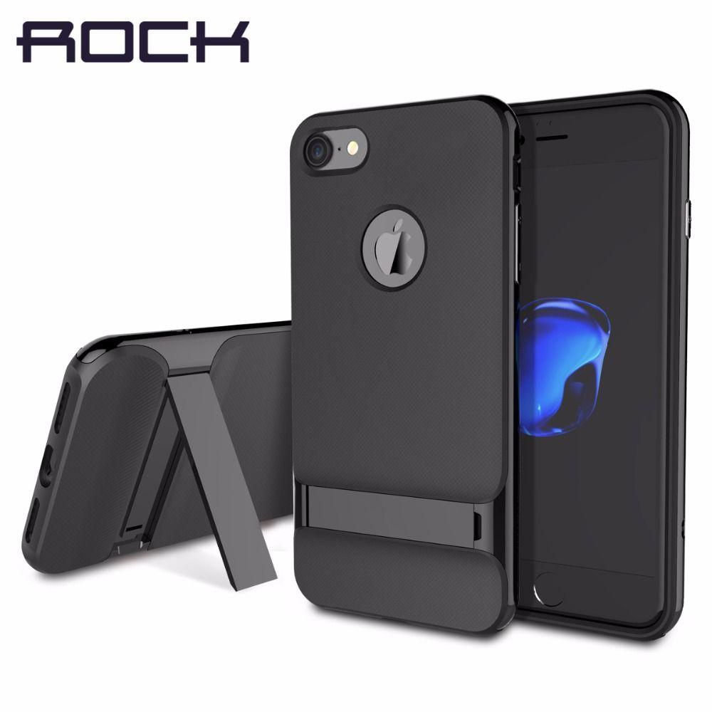 ROCK Royce Béquille Cas pour iPhone 7/7 plus, luxe Noir Couverture Arrière pour iPhone 7/7 plus