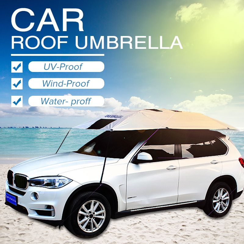 Car Outdoor Roof Umbrella Sunshade Insulation Cover Travel Roof Semi-automatic Car Umbrella Covers Sun Guard Tent 320x220cm