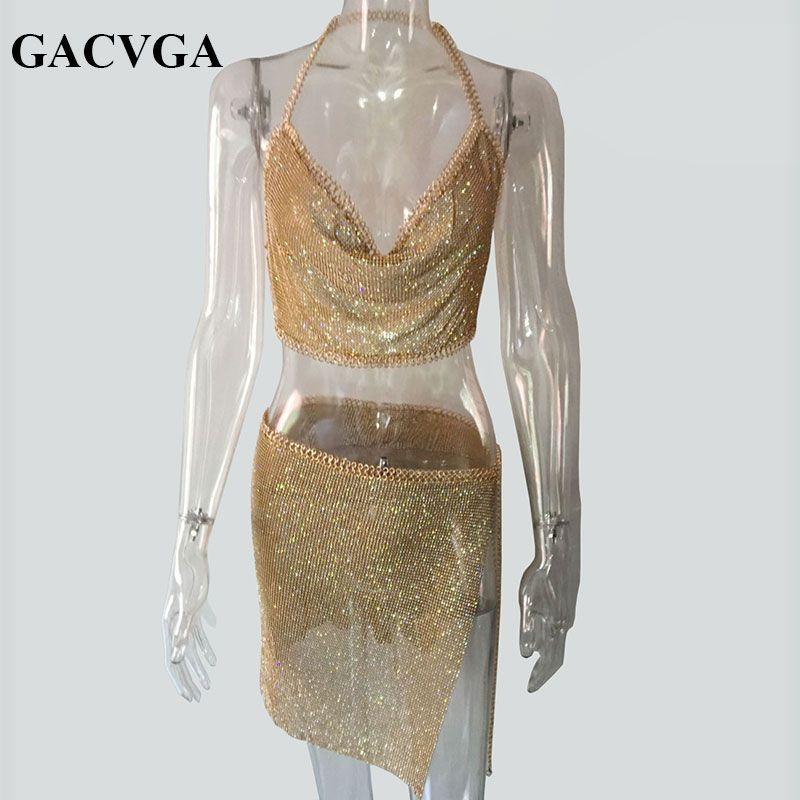 GACVGA 2019 cristal Sexy haut court plage Fitness T Shirt femmes été hauts en métal fête débardeur Bralette recadrée Feminino Blusa