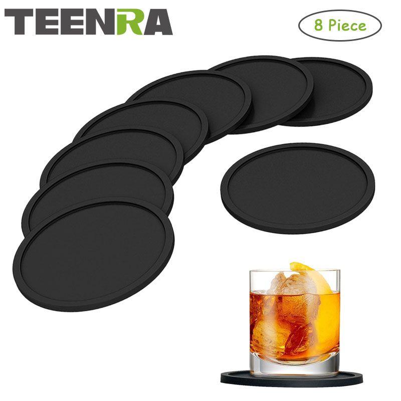TEENRA 8 Pcs Noir Silicone Dessous de verres Napperons Pour Table Tapis Pour Dîner Table Napperon Silicone Tasse Tapis Set de Cuisine