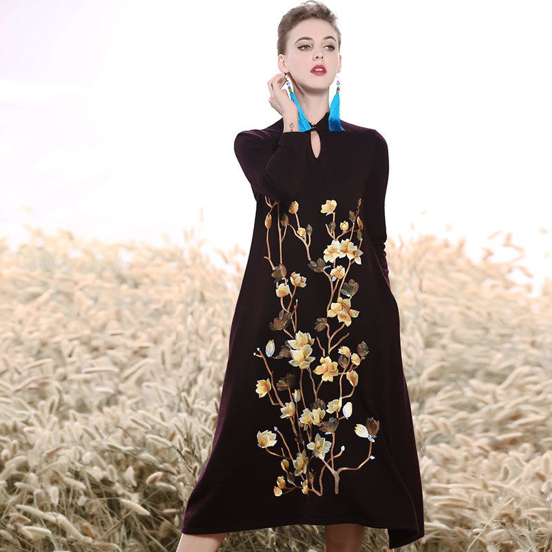 High-end Autumn winter dress vintage royal embroidery loose black dress fashion runway lady Mink cashmere A-line dress M-XXL