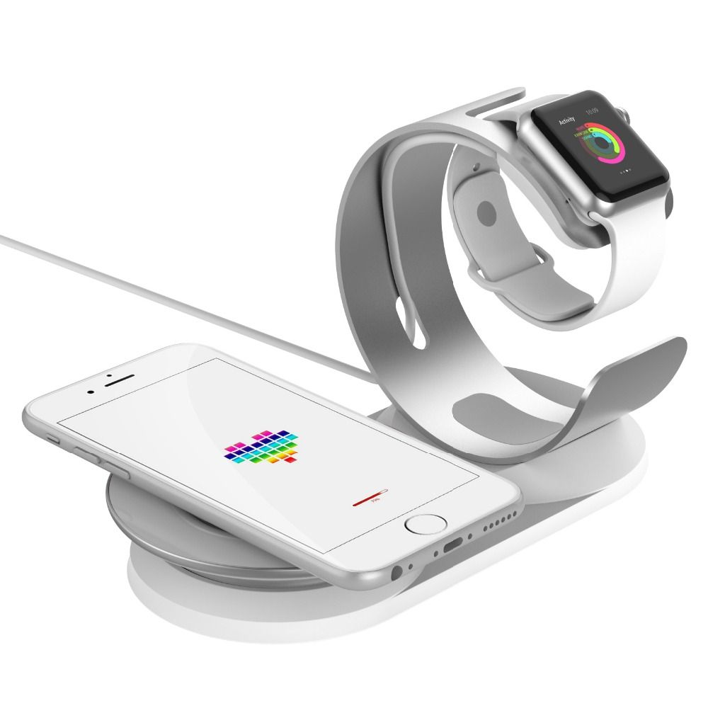 New 2 in 1 adjustable Desk Dock Wireless Charge Holder For Apple Watch Wireless Charging stand for iPhone x/8/8p Charger station