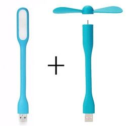 Creative USB Ventilateur Flexible Portable Mini Ventilateur et USB LED lumière Lampe Pour La Banque D'alimentation Portable et Ordinateur D'été Gadget
