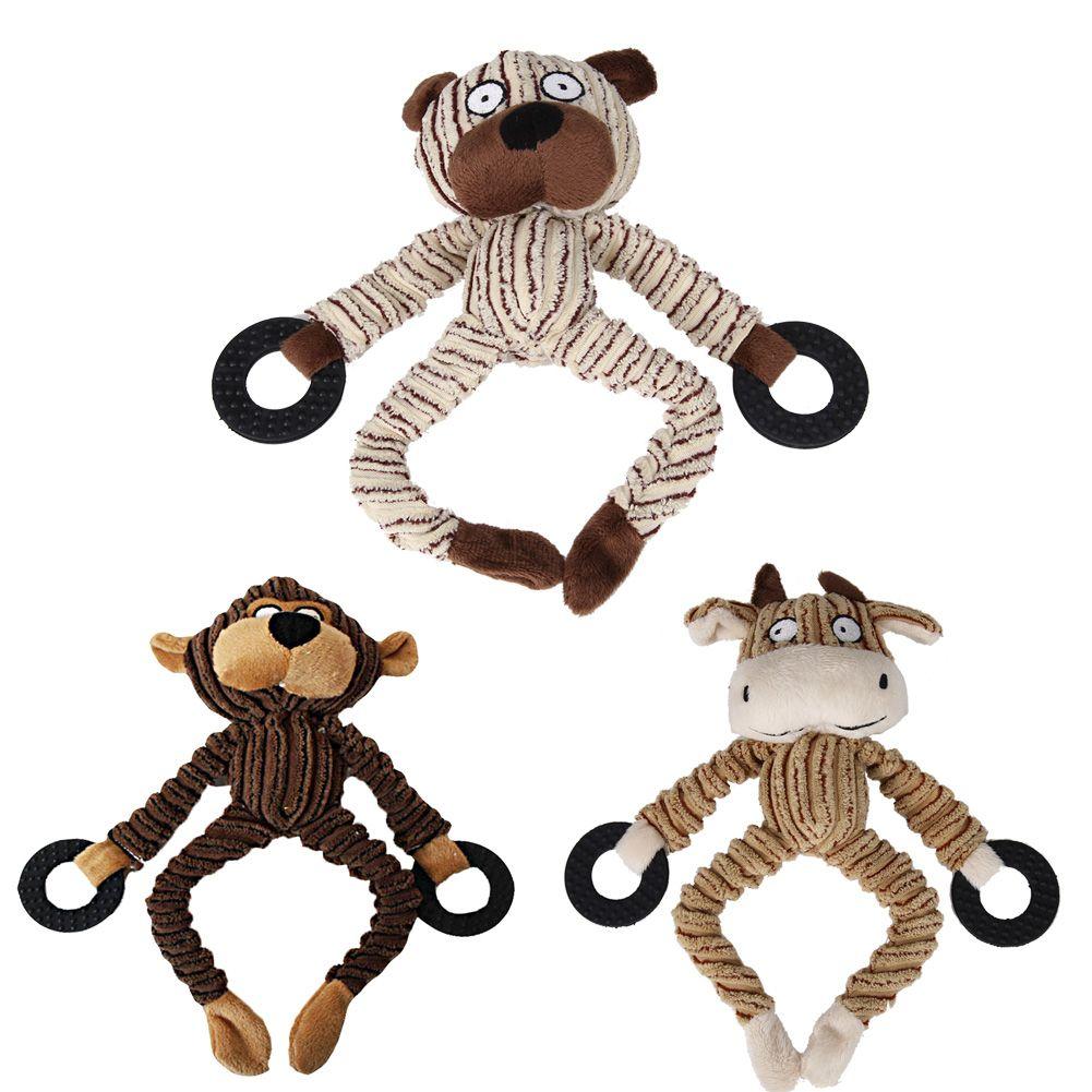 3 Designs Hundespielzeug Plüsch Hundewelpen Kauen Quietsche Quietschend Plüsch Affe/Bär Kuh Spielzeug Pet Lustige 26X10 CM