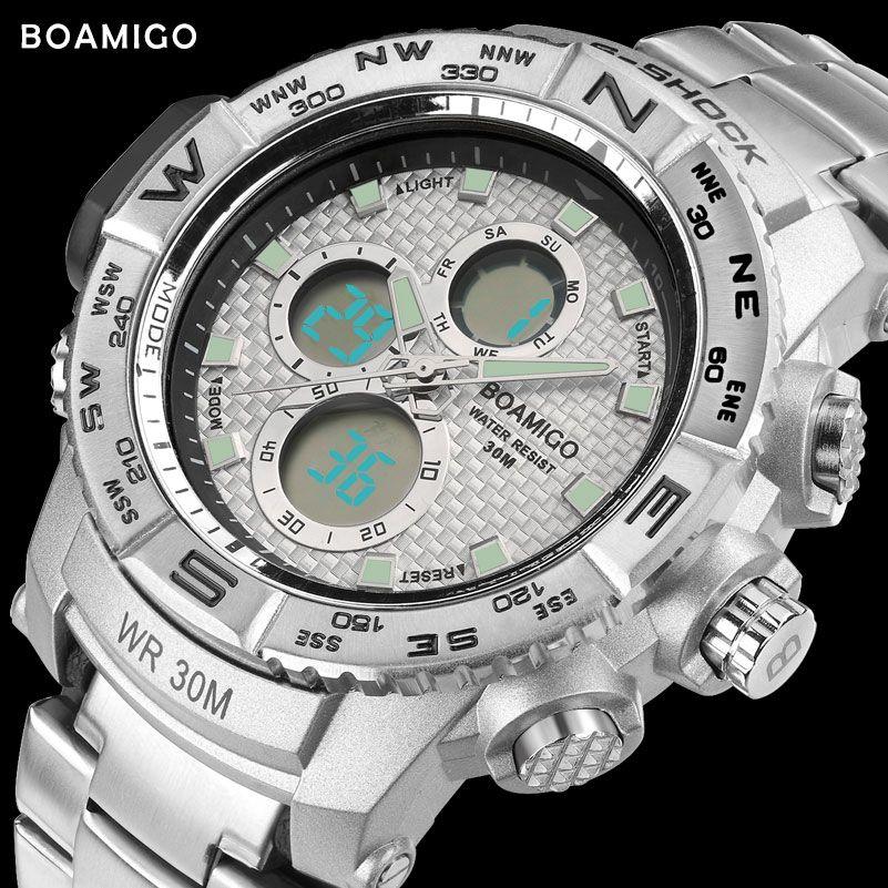 S-SHOCK men sport watch steel LED digital watch analog quartz watch BOAMIGO brand chronograph clock 30M waterproof reloj hombre