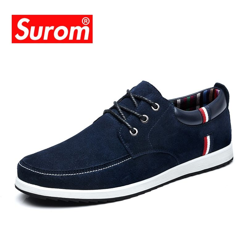 SUROM Men's Leather Casual Shoes Moccasins Men Loafers Luxury Brand Spring New Fashion <font><b>Sneakers</b></font> Male Boat Shoes Suede Krasovki