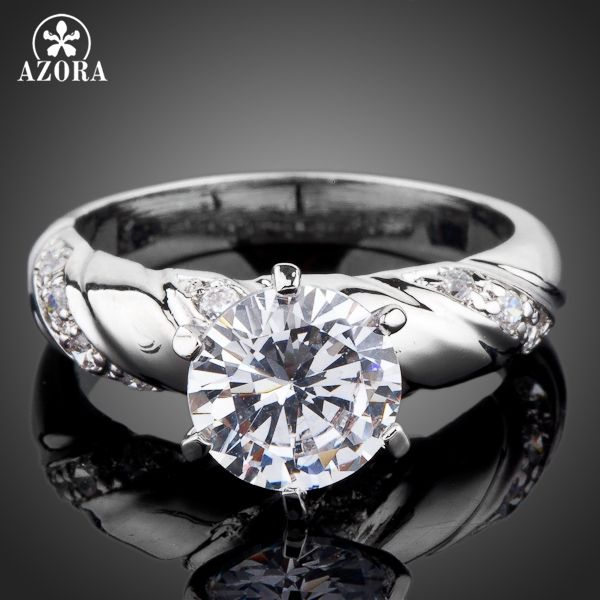 AZORA White Gold Color 2ct Round Cut Cubic Zirconia with micro CZ Setting Engagement Rings for woman TR0077