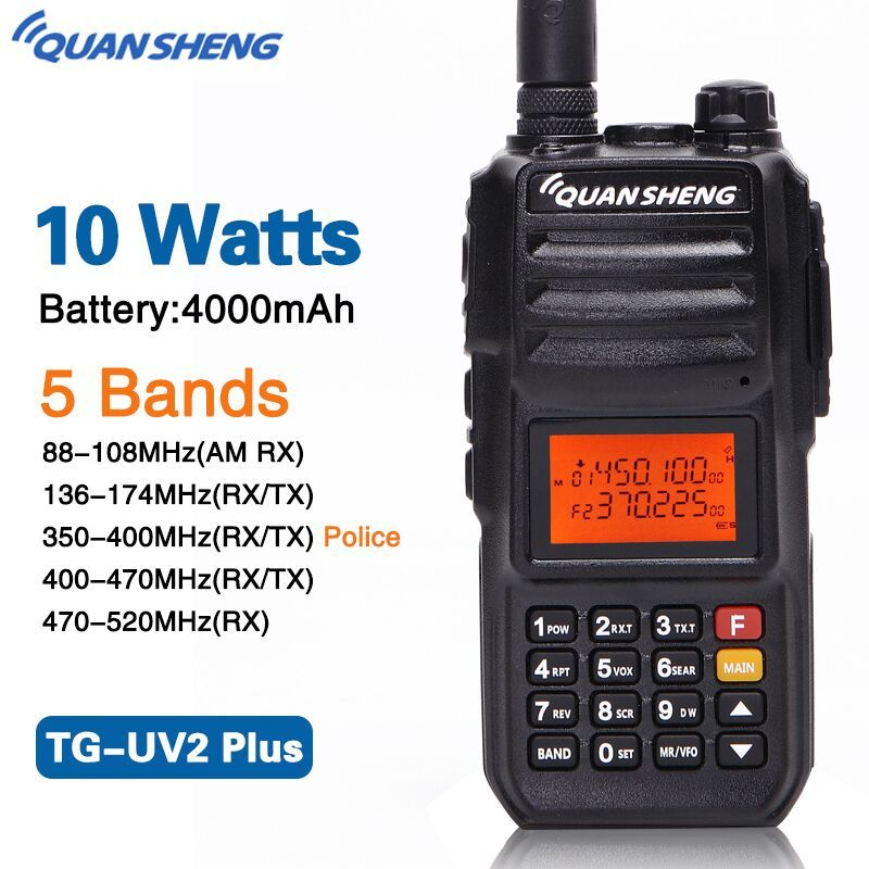 Quansheng TG-UV2 PLUS High Power 10W 5 Bands 136-174MHz/Police band 350-390MH/400-470MHz 4000mAh 10KM Range Ham 2 Way Radio