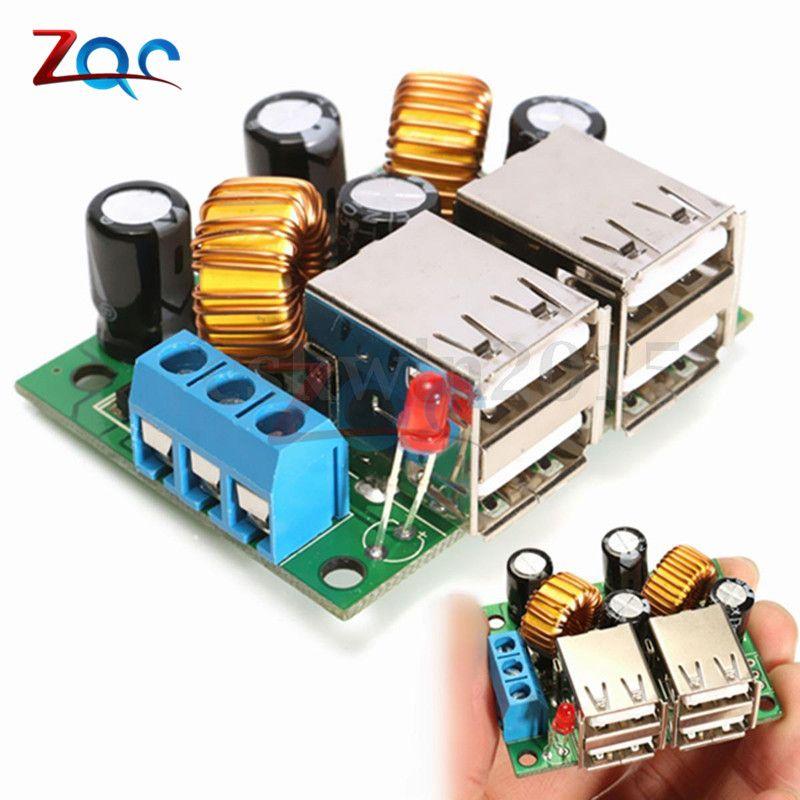 4-USB Port A5268 Step Down Stromversorgung Konverter Bord Modul DC 12 V 24 V 40 V zu 5 V 5A Für MP3/MP4 Telefon Auto Ausrüstung