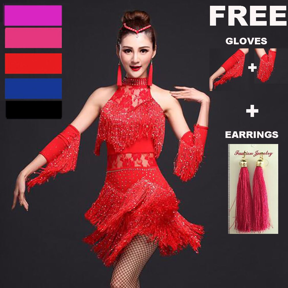 Explosion danse latine femmes frange robe & gants & boucles d'oreilles compétition/pratique Cha Rumba Samba Salsa danse robe Gatsby