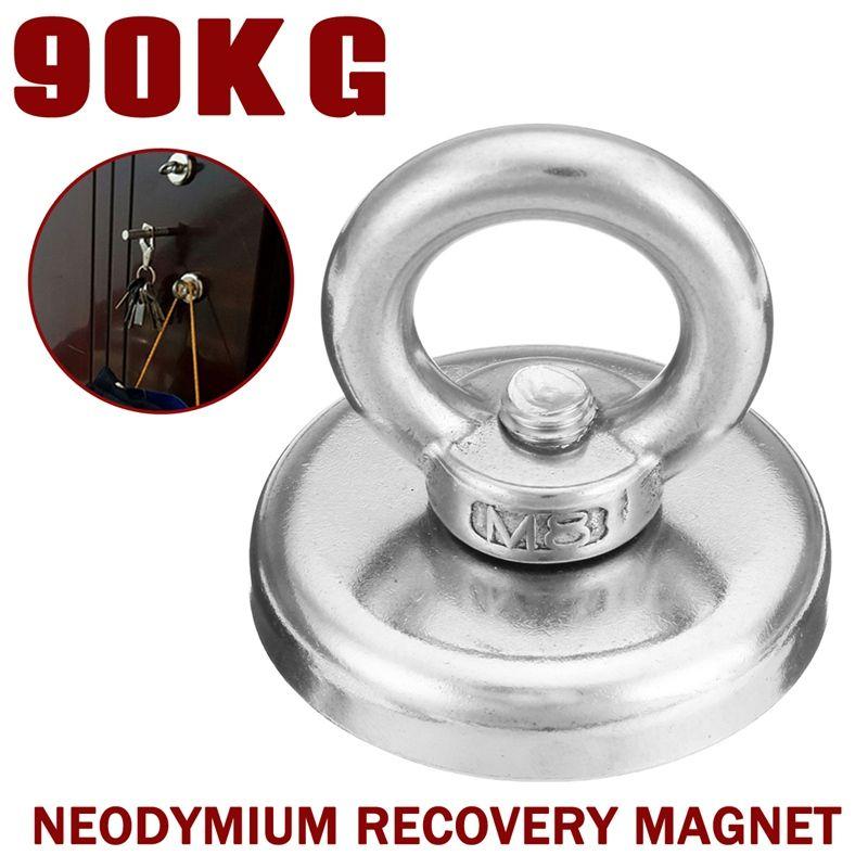 Universal New 90KG 48mm Neodymium Recovery Magnet Metal Detector Treasure Hunting Fishing Sucker
