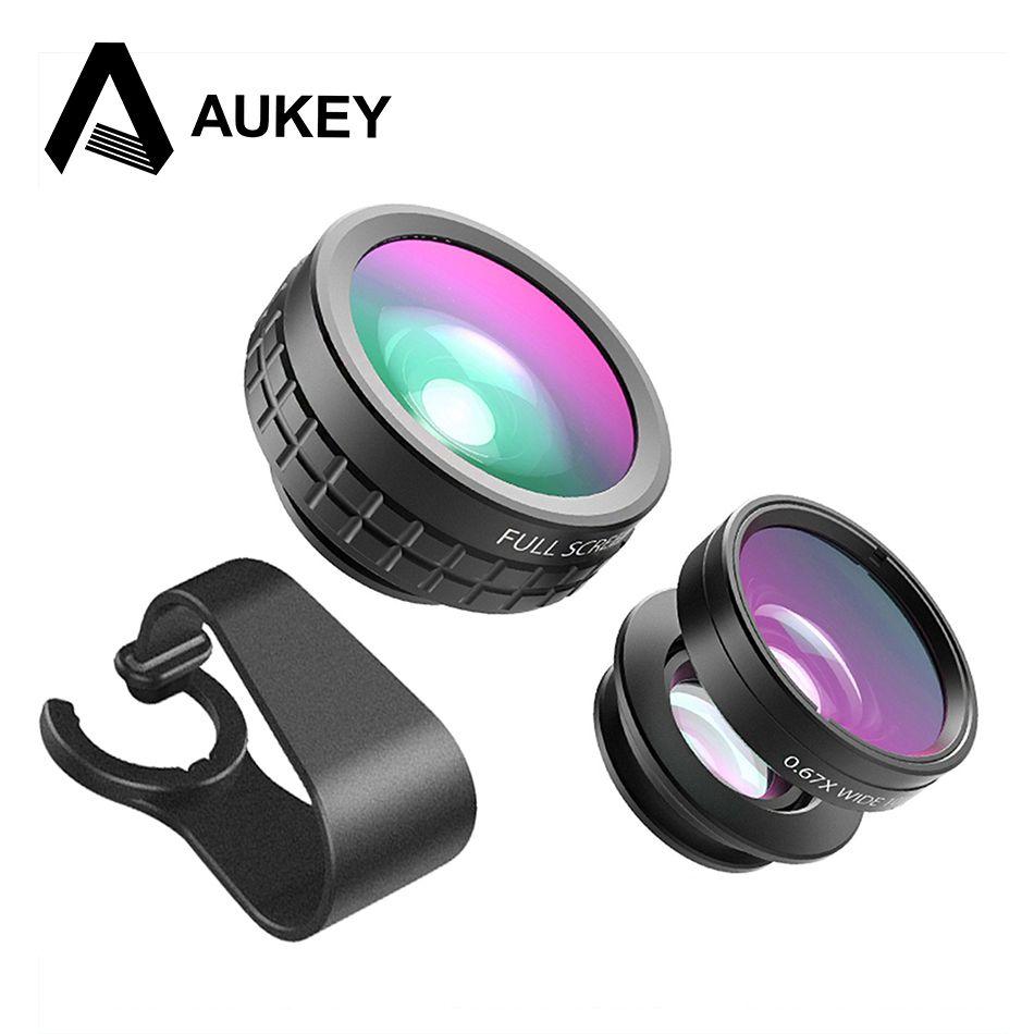 AUKEY Optique Téléphone portable Caméra Lentille Mini Clip-sur Kit 180 Degrés Fisheye lentille + 110 Degrés Grand Angle + Macro 10x pour Téléphones
