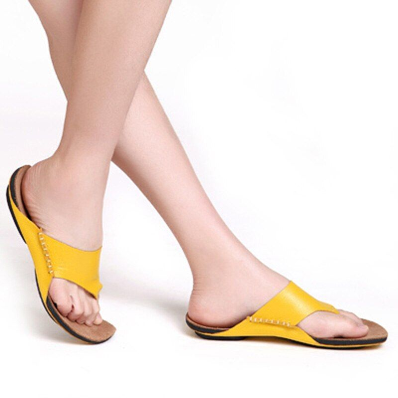 GYKZ 100% Genuine Leather 100% First Layer Cowhide Handmade Shoes Women Ladays Sandals Fashion Slippers Beach Shoes