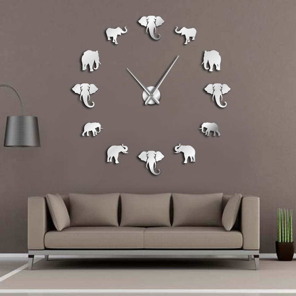 Jungle Animals Elephant DIY Large Wall Clock Home Decor Modern Design Mirror Effect Giant Frameless Elephants DIY Clock Watch