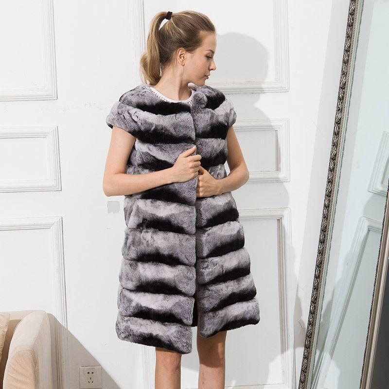 CNEGOVIK 2016 women's real fur vest chinchilla Rex rabbit fur waistcoat lady