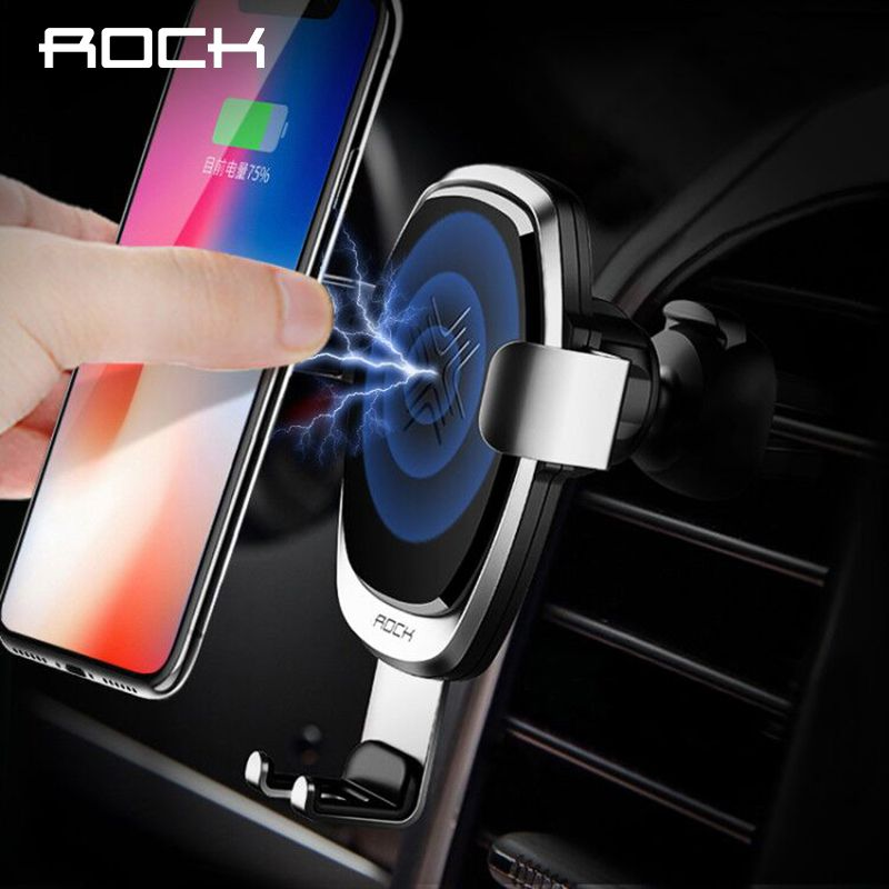 ROCK 10W Fast QI Wireless Car Charger Gravity Holder for iPhone X 8 Plus Samsung Galaxy S8 S7 Note 8 Quick Charge Charging Mount