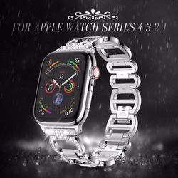 Stainless Steel Strap for Apple Watch Band Rhinestone Diamond Bands 38mm 42mm Series 3 2 1 for Apple Watch 40mm 44mm Series 4 5