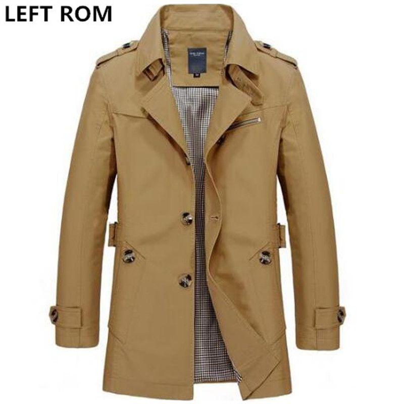 Слева Встроенная память Модные мужские высококлассные зимой Slim Fit Повседневное плащ/мужской чистый цвет из чистого хлопка Куртки