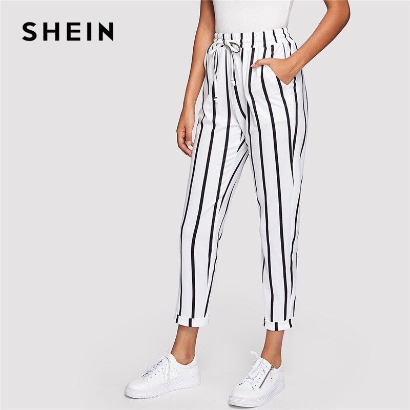 SHEIN Black and White Casual Drawstring Waist Striped High Waist <font><b>Tapered</b></font> Carrot Pants Summer Women Going Out Trousers